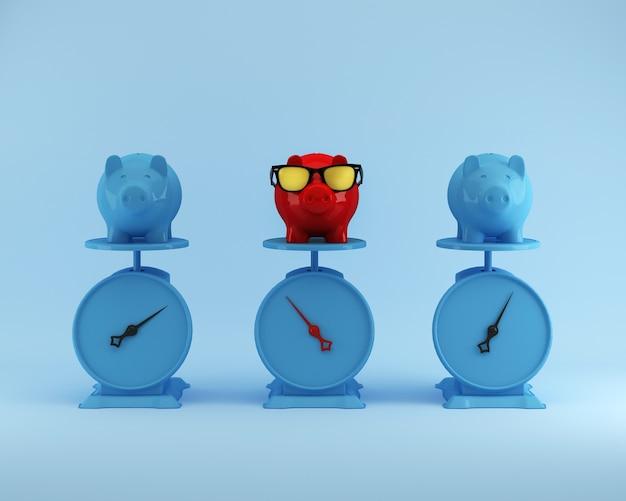 Verschillende rode piggy-besparingen met blauw varken andere op blauwe achtergrond, minimaal concept