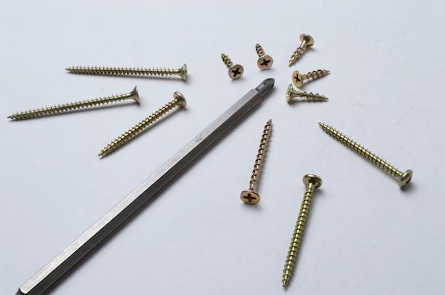 Verschillende schroeven en een beetje van een schroevendraaier liggen op een lichte achtergrond. detailopname.