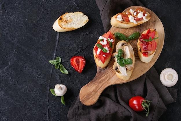 Verschillende soorten bruschetta
