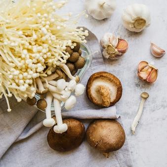 Verschillende soorten eetbare paddenstoelen en knoflook