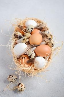 Verschillende soorten eieren in een mand op een grijze concrete achtergrond.