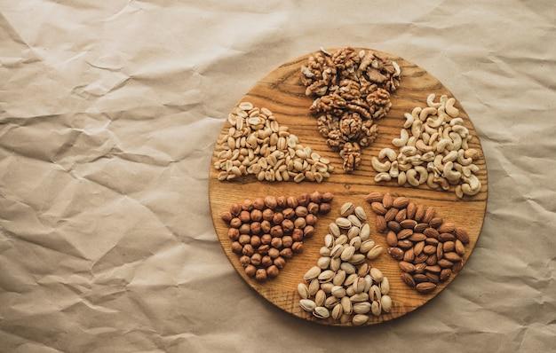 Verschillende soorten noten op een houten snijplank