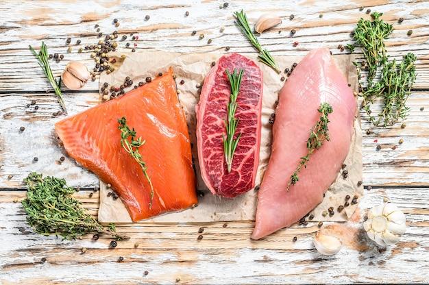 Verschillende soorten rauw vlees