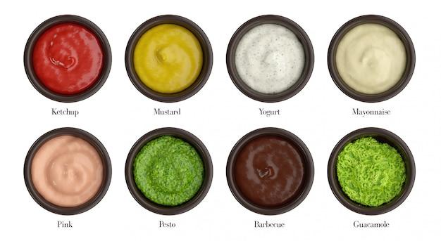 Verschillende soorten saus voor knippen, ketchup, mosterd, yoghurt, mayonaise, roze, pesto, bbq, guacamole.
