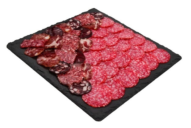 Verschillende soorten vlees snijden op de planken.