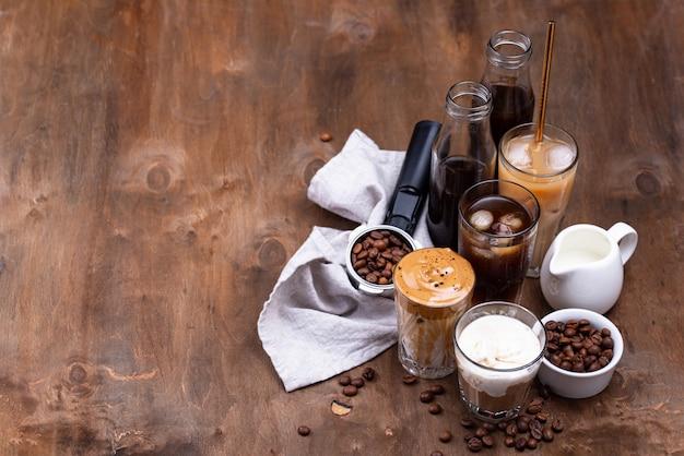 Verschillende trendy koude koffiedrankjes