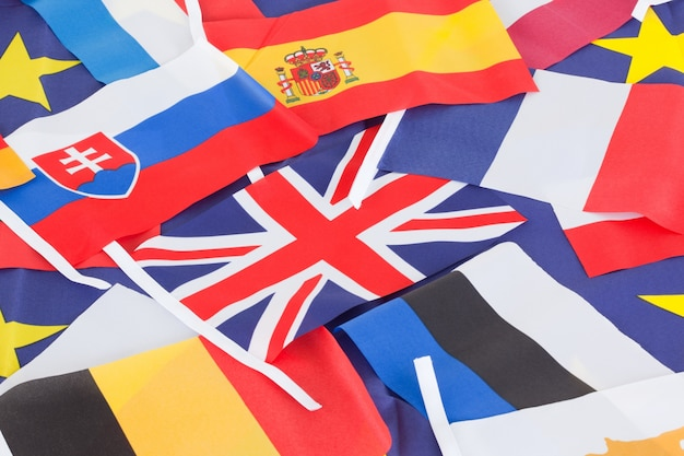 Verschillende vlaggen van landen