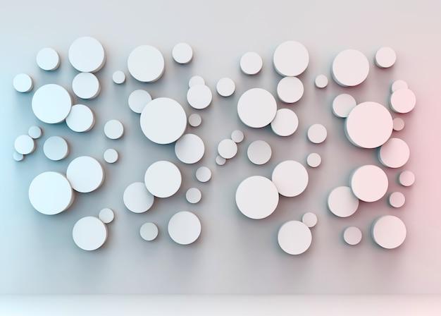 Verschillende vorm van ronde cirkel panelen met rood, blauw licht op grijze muur achtergrond.