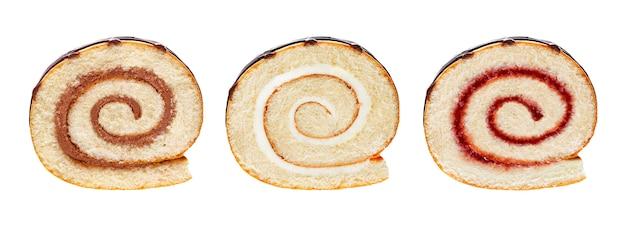 Verschillende zwitserse broodjesinzameling die op witte achtergrond wordt geïsoleerd