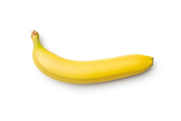 Verse banaan die op witte achtergrond wordt geïsoleerd