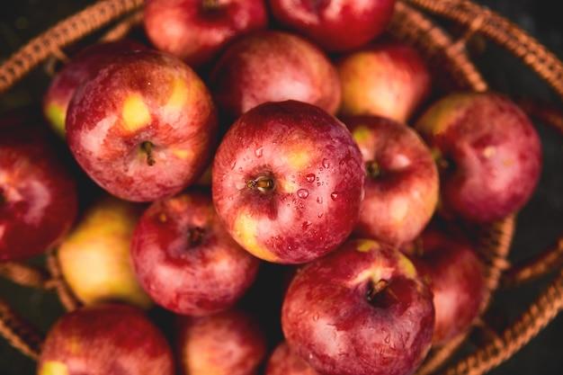 Verse biologische rode appels in een mand op zwart. herfst oogst