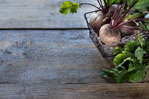 Verse biologische rode bieten met bladeren in een rieten mand op een houten tafel. natuurlijke biologische groenten. herfst oogst. rustiek. kopie ruimte