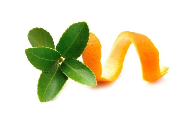 Verse bladeren van thee met citrus geïsoleerd op een witte achtergrond.