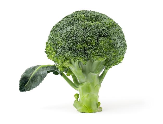 Verse broccoli geïsoleerd op een witte achtergrond met uitknippad