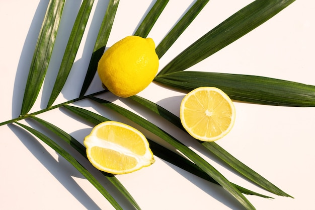 Verse citroen op tropische palmbladeren op witte ondergrond. bovenaanzicht