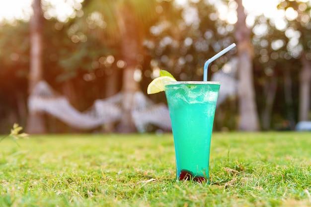 Verse cocktail met strow op het gras