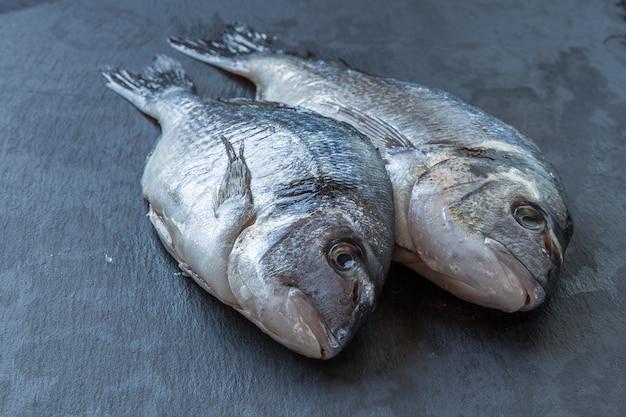 Verse dorado-vissen in stukken van ijs op een donkere achtergrond