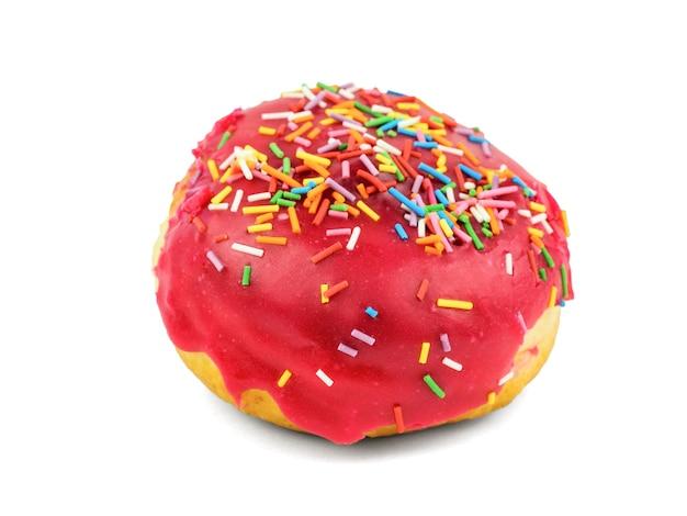Verse doughnut in geïsoleerd suikerglazuur en jam. zoete bakkerij-banketbakkerij.