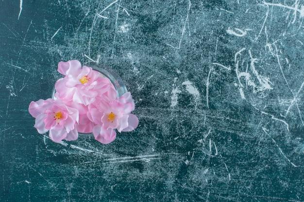 Verse elegante bloemen in een glas, op de blauwe achtergrond.