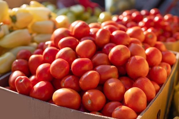 Verse en biologische tomatengroenten op boerenmarkt lokale producten