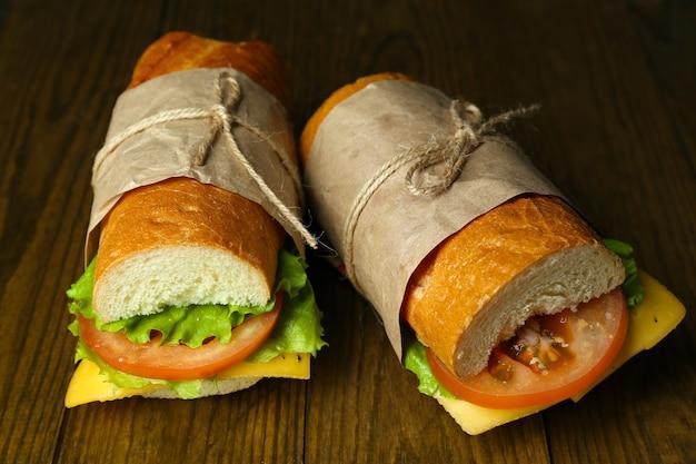 Verse en smakelijke sandwich close-up
