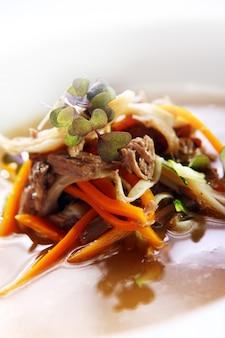 Verse gastronomische soep met vlees
