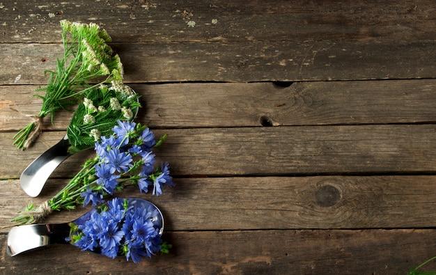 Verse geneeskrachtige kruiden geneeskrachtige kruiden (kamille, alsem, duizendblad, munt, sint-janskruid en witlof) op een oud houten bord in bovenaanzicht met kopie ruimte