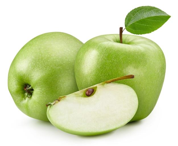 Verse groene appel geïsoleerd op een witte achtergrond met uitknippad
