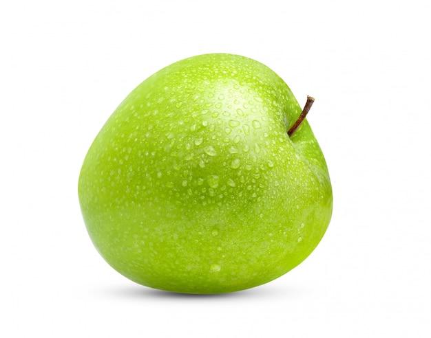 Verse groene appel met waterdaling in volledige diepte van gebied