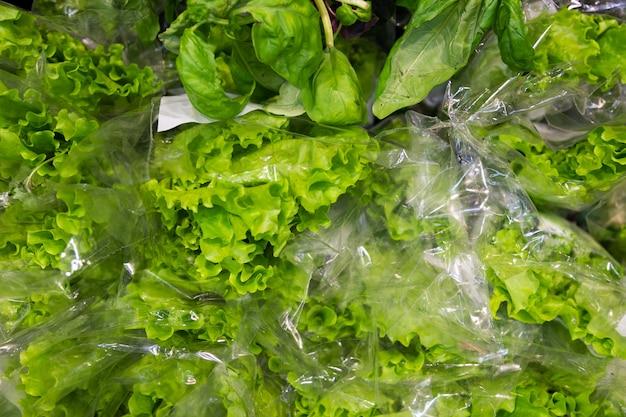 Verse groene ijsbergslabladeren in polypropyleenpakket, voor achtergrond, luchtmening
