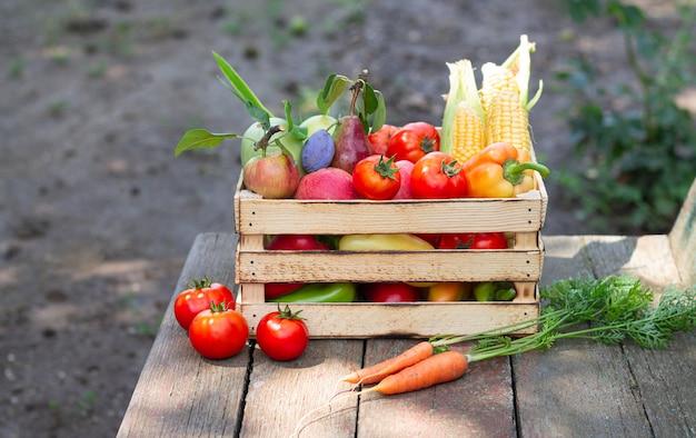 Verse groenten en fruit in krat op rustieke houten achtergrond buitenshuis