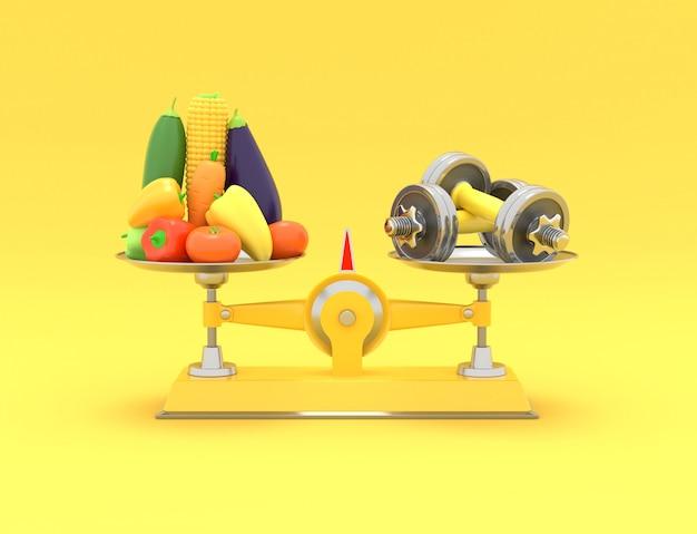 Verse groenten en halters op verschillende schalen. conceptuele afbeelding met lege ruimte voor tekst. 3d-weergave