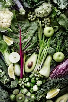 Verse groenten plat leggen gezonde levensstijl