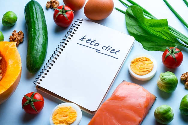 Verse groenten, zalmfilets en eieren voor gezonde, gezonde voeding. koolhydraatarm en keto, ketogeen dieetconcept. dieet plan en controle voedsel. kopieer ruimte