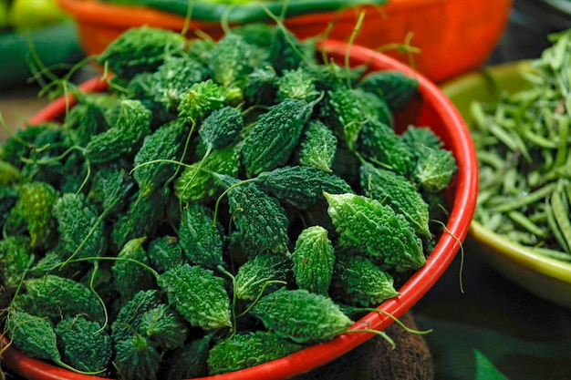 Verse groentewinkel in indische markt