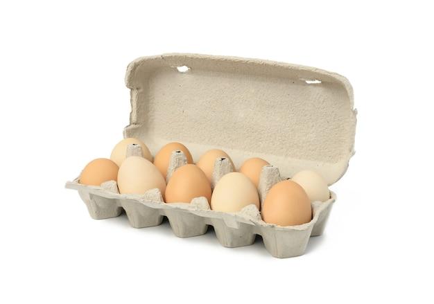 Verse hele bruine eieren in geïsoleerde papieren verpakking