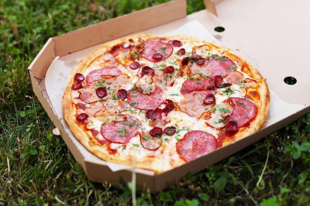 Verse hete pizza met tomatensaus en spek op een picknick