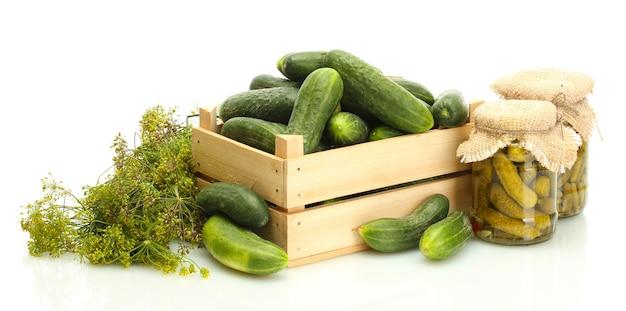 Verse komkommers in houten kist, augurken en dille geïsoleerd op wit