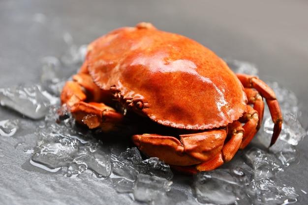 Verse krab op ijs - sluit omhoog van steenkrab in het zeevruchtenrestaurant dat wordt gestoomd