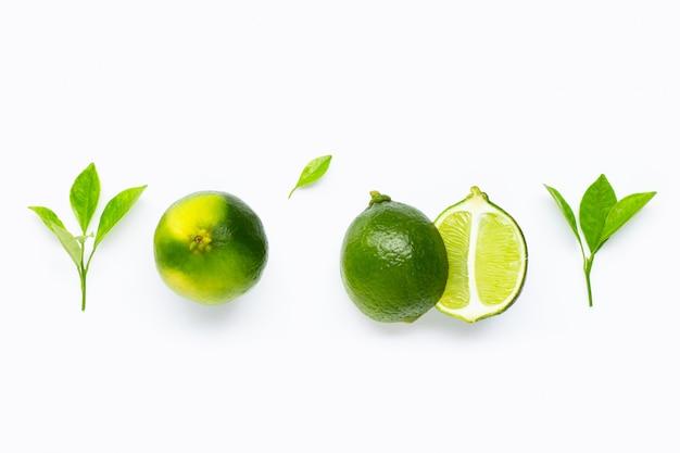 Verse limoenen met bladeren geïsoleerd op wit