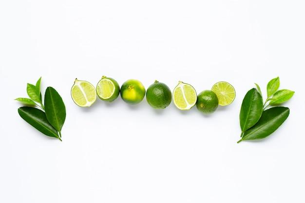 Verse limoenen met geïsoleerde bladeren