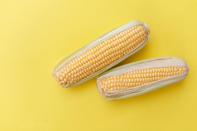 Verse maïs op gele nackground. concept over gezond eten. Premium Foto