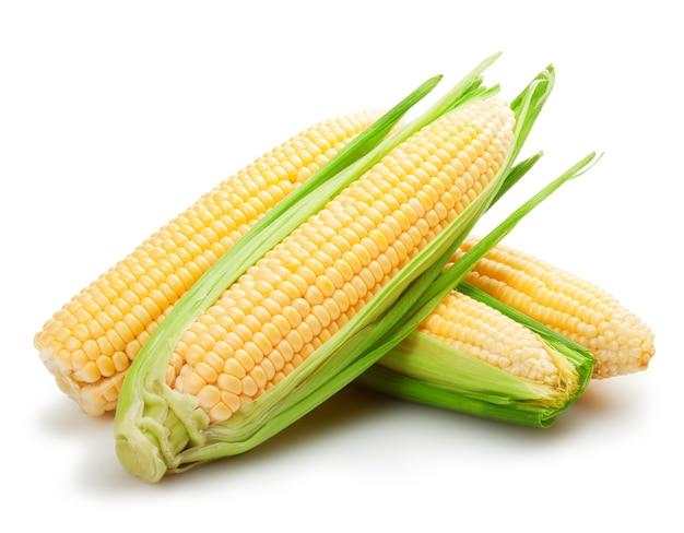 Verse maïsvruchten met groene bladeren geïsoleerd op een witte ondergrond