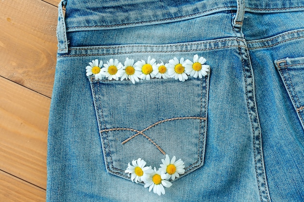 Verse margrietbloemen in jeanszak.