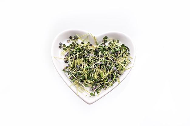 Verse microgreens van witte mosterd groeien op een witte hartvormige plaat.
