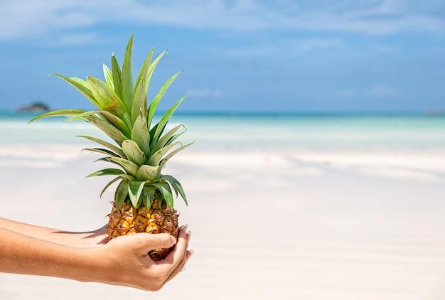 Verse miniananas op de hand van de vrouw bij tropisch strand en zeeachtergrond