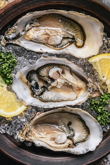 Verse oesters met citroen, ijs en witte wijn