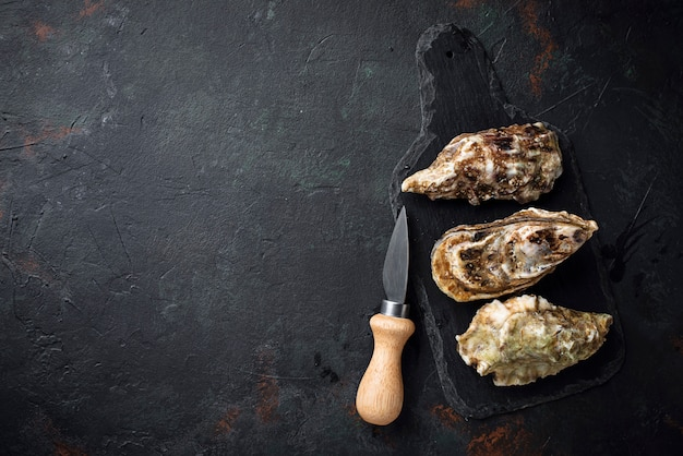 Verse oesters op donkere achtergrond