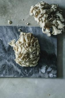 Verse oesterzwammen op een grijze lei