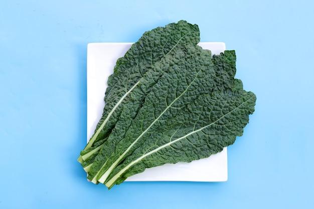 Verse organische groene boerenkoolbladeren op blauw.